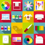 Print items icons set, flat style Royalty Free Stock Image