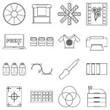 Print items icons set, outline style Stock Photos