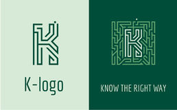 Print K letter maze. Creative logo for corporate identity of company: letter K. The logo symbolizes labyrinth, choice of right path, solutions. Suitable for Royalty Free Stock Photo