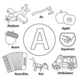 Learning card alphabet. Letter A. Set of cute cartoon illustrations. Coloring page stock illustration