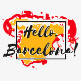 Print with lettering about Barcelona Stock Image