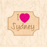 Print with lettering I Love Sydney Stock Photos