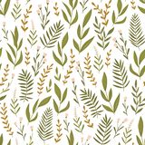 Light green seamless pattern with  herbs and flowers. Bedding floral background. Fabric design. Vector illustration stock photos