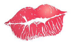 Print of lips. Print of red lips isolated on white Stock Photo