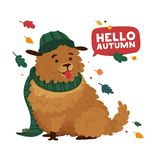 Print the lovely cartoon dog in a hat and scarf for the autumn season. The poster design is Hello autumn with a cheerful royalty free illustration