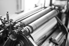 Print machine. Close up printing machine during production Stock Images