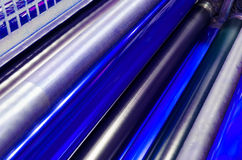 Print machine printing press rollers Royalty Free Stock Image