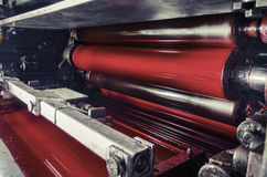Print machine, red magenda color drum Royalty Free Stock Images
