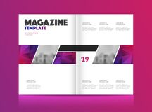 Print. Magazine template with two pages vector illustration
