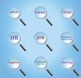 Print. Magnifier search all job internet Stock Photography