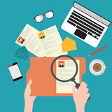 Print. Magnifying glass searching business people, Human resources, conceptual vector illustration Royalty Free Stock Image
