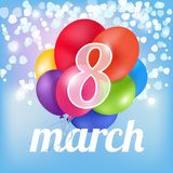 Print 8 march ballons. Colorfull hearts women`c day Stock Image
