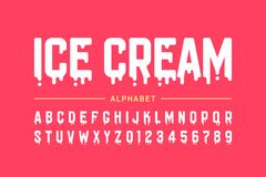 Melting ice cream font. Alphabet letters and numbers royalty free illustration