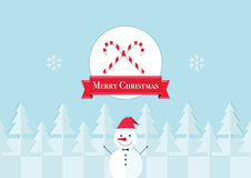 Print Merry Christmas. The image a snowman against snow-covered fir-trees of a snowflake and a place under a logo of your company or the congratulatory text Stock Image