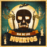 Print - mexican sugar skull, day of the dead poster Royalty Free Stock Images