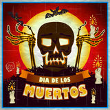 Print - mexican sugar skull, day of the dead poster Stock Photography