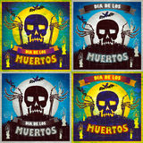 Print - mexican sugar skull and heart set, day of the dead poster Stock Image