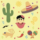 Print mexico. Frida Kahlo, cactus, lemons, hot pepper, hot sun, maracas, hat, sand lizard, mustache, candy. Can be used to print v royalty free illustration
