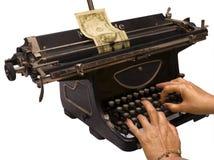 We print money. Female hands print dollar denomination on old typewriter Stock Image