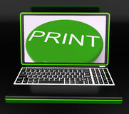 Print On Monitor Showing Printer Royalty Free Stock Image