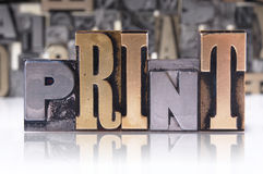 PRINT movable type Stock Photography