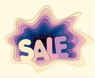 Print Multi colored puff holes sale. Template of creative sales illustration for a poster advertising poster from cut out layers of paper in the style of Stock Photos