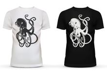 Print of octopus with tentacles on t-shirt. Print of cartoon octopus with tentacles on sportswear or casualwear unisex or men black, and white cotton t-shirt Stock Photo
