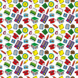 Print of office items. Pattern of office and school items stock illustration