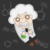 Print. Old cartoon style professor of chemistry vector illustration Stock Photo