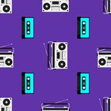 Print with old tape recorders and cassettes. Musical seamless pattern. Vector illustration. royalty free illustration