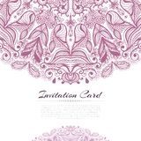 Print. Ornamental rose invitation card on white template vector illustration Royalty Free Stock Photo