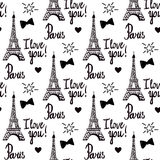 Print. Paris I love you. Illustration black ink Eiffel Tower. Hand-drawing. Vector seamless pattern isolated on white background Royalty Free Stock Images