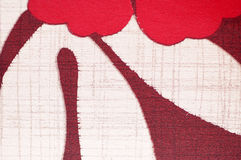 Print pattern on fabric as background. Red and white flower Royalty Free Stock Photos