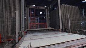 Print patterned ceramic tile, pattern on ceramic tiles. Industrial interior, indors stock footage