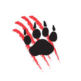 Print of a paw of an animal with claws, scratches with blood Stock Photo