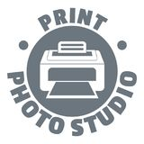 Print photo studio logo, simple style Royalty Free Stock Images