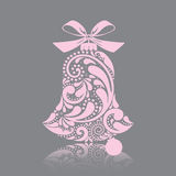 Print. Pink christmas bell of the leaf pattern. Isolated object. Stock Photo