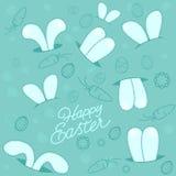 Print pocket rabbit easter pattern. Felt green funny stock illustration