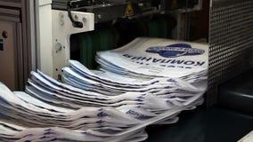 Print press typography machine in work. VOLZHSKY, Russian Federation - OCTOBER 27, 2014: print press typography machine in work stock video