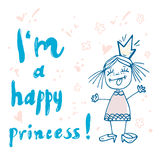 Print Princess typography for girl clothes royalty free illustration