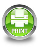 Print (printer icon) glossy green round button Royalty Free Stock Photos