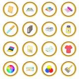 Print process icons circle Stock Photography