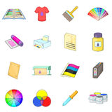 Print process icons set, cartoon style Royalty Free Stock Images