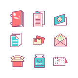 Print product thin line color icons Stock Photography