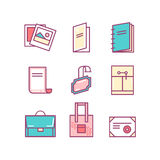 Print product thin line color icons Stock Photo