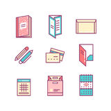 Print product thin line color icons Stock Images