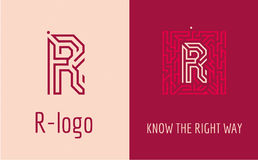 Print R letter maze. Creative logo for corporate identity of company: letter R. The logo symbolizes labyrinth, choice of right path, solutions. Suitable for Stock Photos