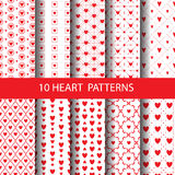 Print. Red heart  pattern set,  Endless texture can be used for wallpaper, pattern fills, web page,background,surface Stock Photos