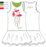 Print red poppies and pattern front and behind sundresses Royalty Free Stock Photography