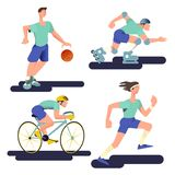 The runner, basketball player, cyclist and roller skater. Sportsman set in flat with gradient design. Vector illustration. The runner, basketball player royalty free illustration